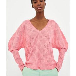 ZARA Collection NWT Pink Textured Knit Shirt